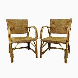 Art Deco Rattan Armchairs, Set of 2