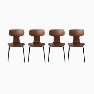 Hammer Teak Chairs by Arne Jacobsen for Fritz Hansen, 1950s, Set of 4