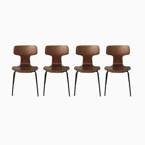 Hammer Teakstühle von Arne Jacobsen für Fritz Hansen, 1950er, 4er Set