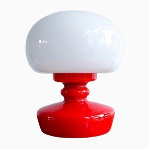 Lámpara de mesa vintage de vidrio opalino, años 60