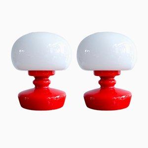 Lámparas de mesa vintage de vidrio opalino, años 60. Juego de 2