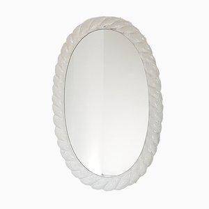 Specchio ovale vintage in resina, anni '70