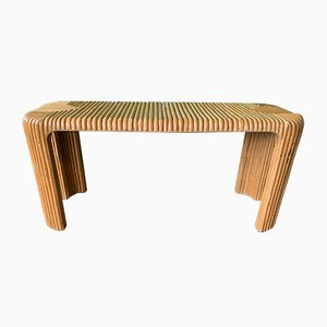 Split Pencil Reed Bamboo Console Table, 1970s