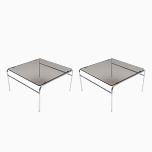 Smoked Glass & Chrome Side Tables, 1970s, Set of 2