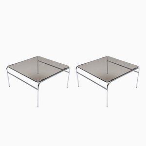 Tavolini in vetro fumé e metallo cromato, anni '70, set di 2