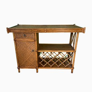 Mueble bar de bambú y ratán, años 80