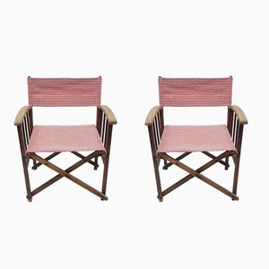 Vintage Oak Director's Chairs by Tania Blixen, Set of 2
