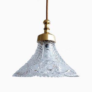 Lámpara colgante checa de vidrio tallado, años 60