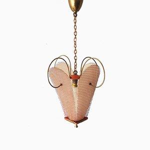Lámpara colgante francesa Mid-Century de acero, resina y latón, años 50