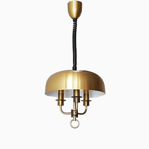 Space Age Golden Steel Up-and-Down Pendant Light, 1970s