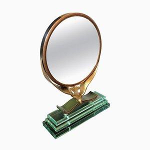 Mid-Century Italian Modern Copper & Verde Nilo Glass Table Mirror, 1940s