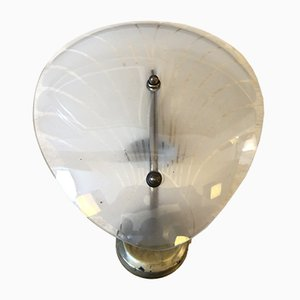 Art Deco Italian Brass & Glass Shell Wall Sconce, 1930s