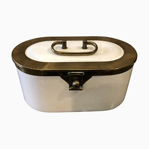 Bauhaus Ceramic & Brass Box from WMF Württembergisch, 1930s