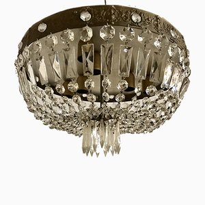 Vintage Einbaulampe aus Kristallglas & Bronze, 1950er