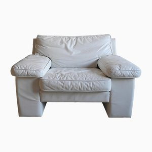 White Leather Club Armchair, 1980s