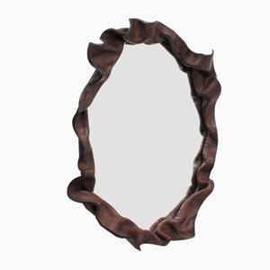 Specchio Mid-Century in pelle, Italia