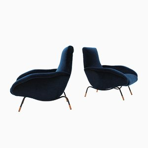 Blue Velvet Armchairs by Erberto Carboni, 1950s, Set of 2