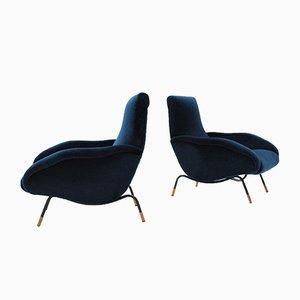 Poltrone in velluto blu di Erberto Carboni, anni '50, set di 2