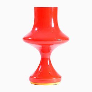 Lampada da tavolo in vetro opalino rosso di Stefan Tabery, Cecaslovacchia, anni '60