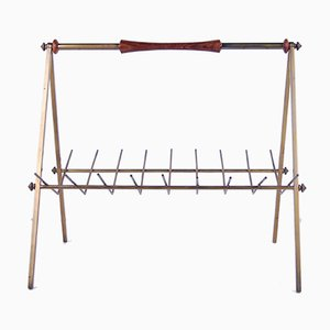 Brass Magazine Rack with Wooden Inserts, 1950s