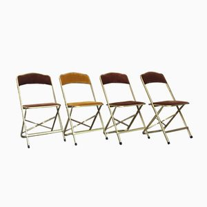Belgian Velvet Folding Chairs, 1960s, Set of 4