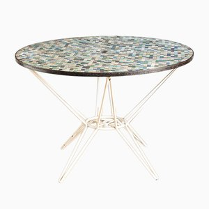 French Garden Table with Mosaic Tiles, 1970s