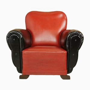Vintage Art Deco Leatherette Club Armchair, 1930s