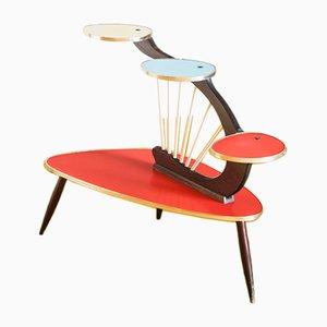 Tavolino di servizio in formica e faggio, anni '50