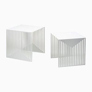 Tavolini ad incastro Zick Zack bianchi di Olga Bielawska per Swedish Ninja