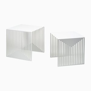 White Zick Zack Nesting Tables by Olga Bielawska for Swedish Ninja