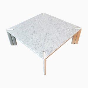 Mesa de centro vintage de mármol blanco, años 70