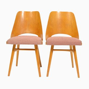 Sillas de comedor de contrachapado con asientos tapizados de TON, años 60. Juego de 2