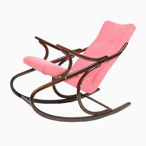 Sedia a dondolo rosa imbottita di TON, anni '60