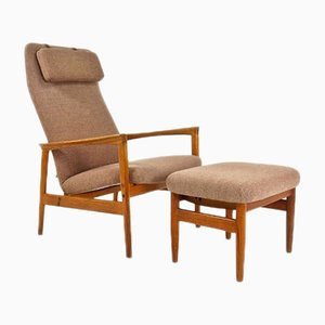 Mid-Century Danish Oak Armchair & Footstool, 1950s, Set of 2