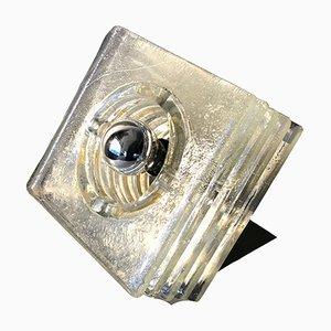Lampe de Bureau Cube Space Age en Verre, 1970s