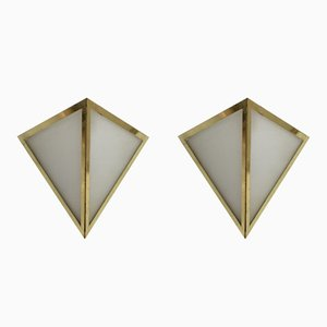 Triangular Brass & Opal Glass Sconces from Glashütte Limburg, 1970s, Set of 2