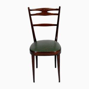Braune Beistellstühle aus Nussholz von Carlo de Carli, 1950er, 2er Set