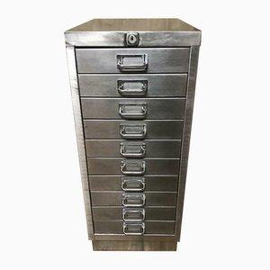 Vintage Industrial Stripped Metal 10 Drawer Filing Cabinet