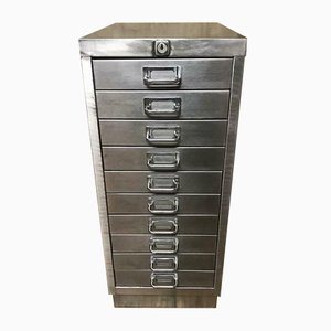 Vintage Industrial Stripped Metal Filing Cabinet, 1970s