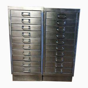 Vintage Industrial Stripped Metal 10 Drawer Filing Cabinets, Set of 2