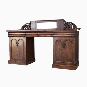 Antique Victorian Mahogany Twin Pedestal Sideboard