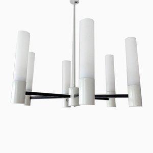 Modernist Black & White Metal & Opaline Glass Chandelier, 1960s