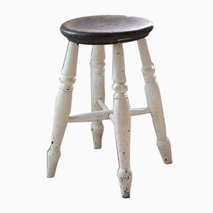 Antique British White Painted Pine Stool