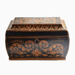 Antique Penwork Tea Caddy