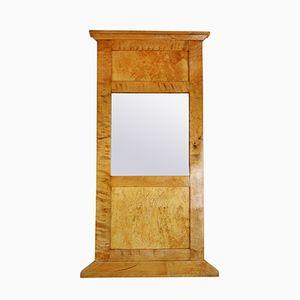 Antique Biedermeier Birch Mirror