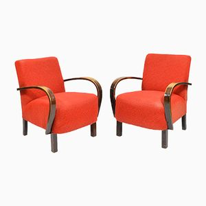 Vintage Red Armchairs, 1950s, Set of 2