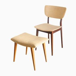 Französischer Beistellstuhl und Fußhocker, 1960er, 2er Set