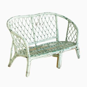 French Rattan Painted Bench, 1960s