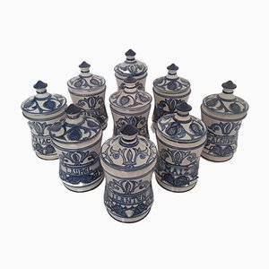 Ceramic Pharmacy Jars from Paterna Maiolica d'Art, 1980s, Set of 9
