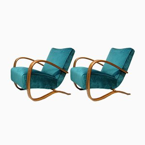 Model H269 Peacock Blue and Walnut Lounge Chairs by Jindřich Halabala for Thonet, 1920s, Set of 2